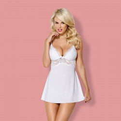 OBSESSIVE 810-BAB BABYDOLL AND THONG WHITE