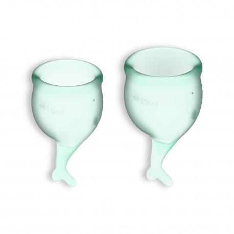 FEEL SECURE 2 MENSTRUAL CUPS SET SATISFYER LIGHT GREEN